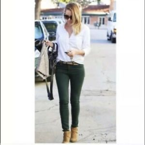 Anthro Pilcro Forest Green STET Skinny Jeans